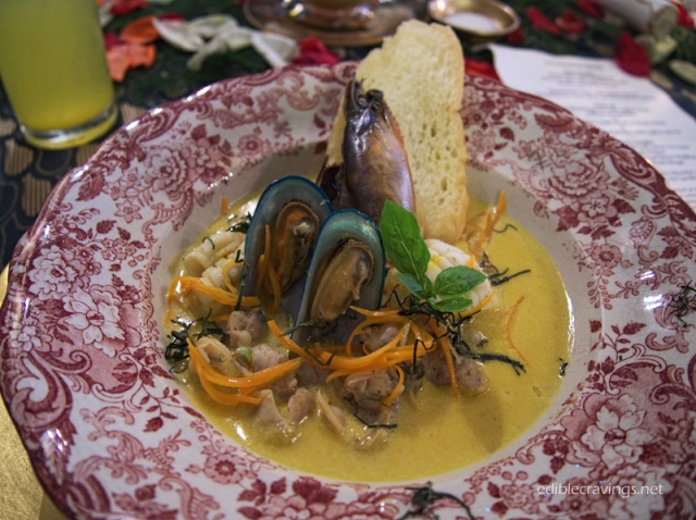 La Cocina de Tita Moning Seafood Potpourri with Saffron Nage, Julienne of Vegetables